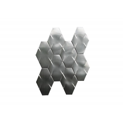 "Stainless Steel 3D Interlocking 6"" Brushed Hexagon Mosaic"