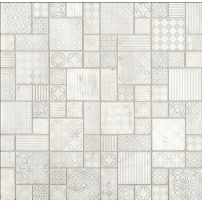 White Quarry Splitface Marble Mosaic