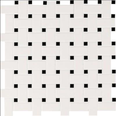 White And Black Basketwave Matte Mosaic
