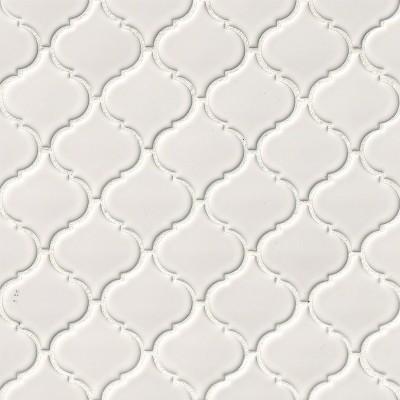 White Glossy Arabesque Mosaic