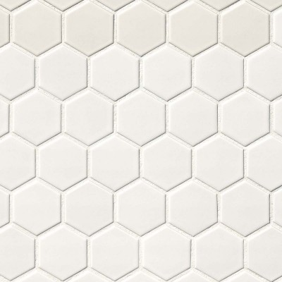 White Matte 2X2 Hexagon Mosaic
