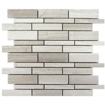 White Oak Lazy Brick 12x12 Mosaic