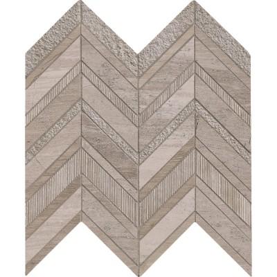 White Quarry Chevron Pattern Mosaic