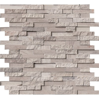 White Quarry Splitface Marble Mosaic