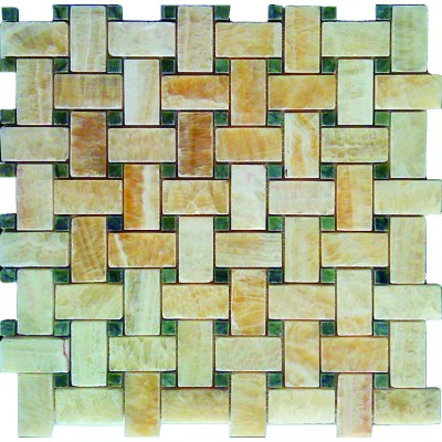 Yellow Onyx Basketweave 12x12 Polished