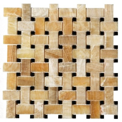 Yellow Onyx Basket Weave Black Dot Interlocking 12x12 Polished