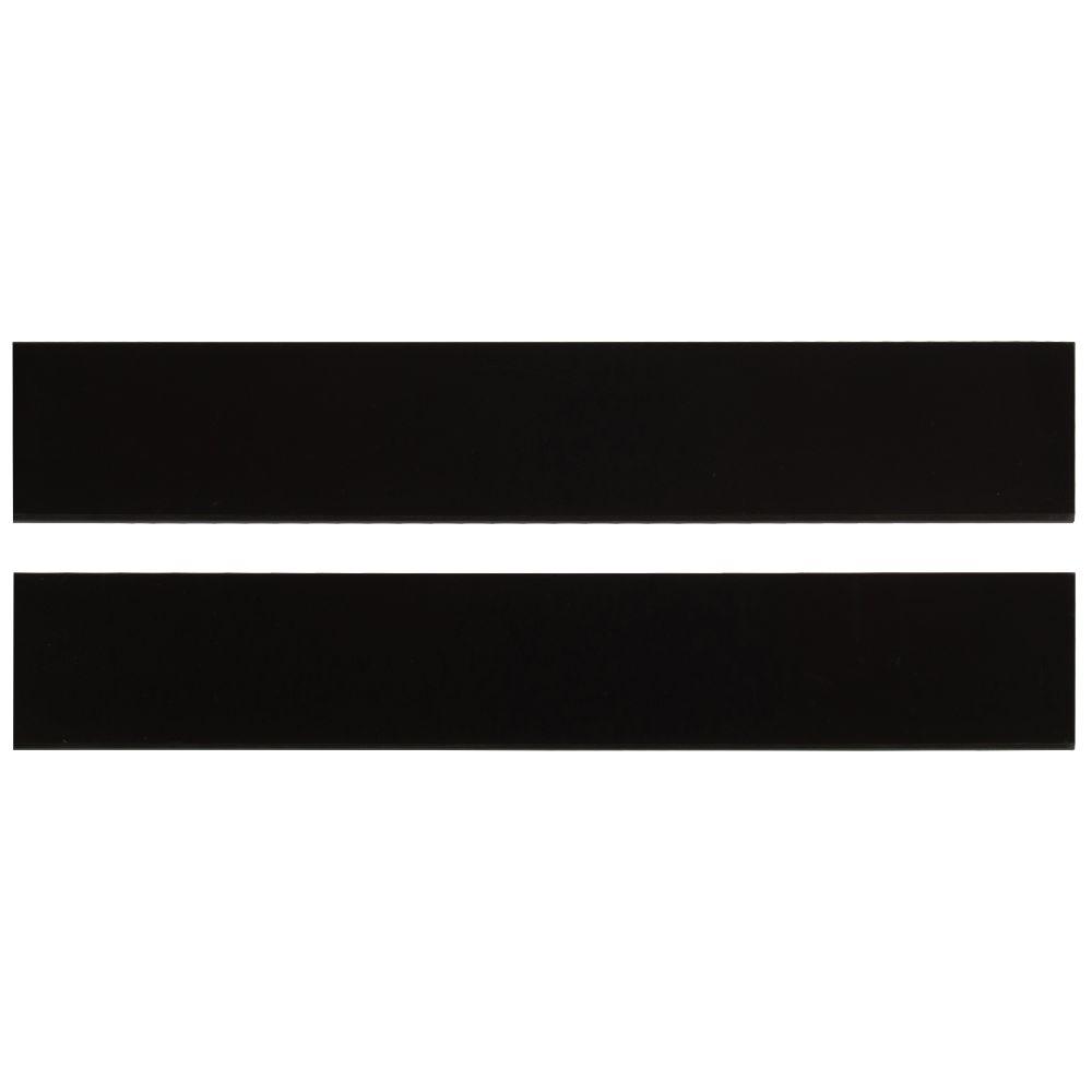 Domino Black Bullnose 4x24 Polished Porcelain Tile