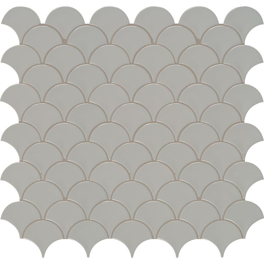 Domino Gray Glossy Fish Scale Mosaic