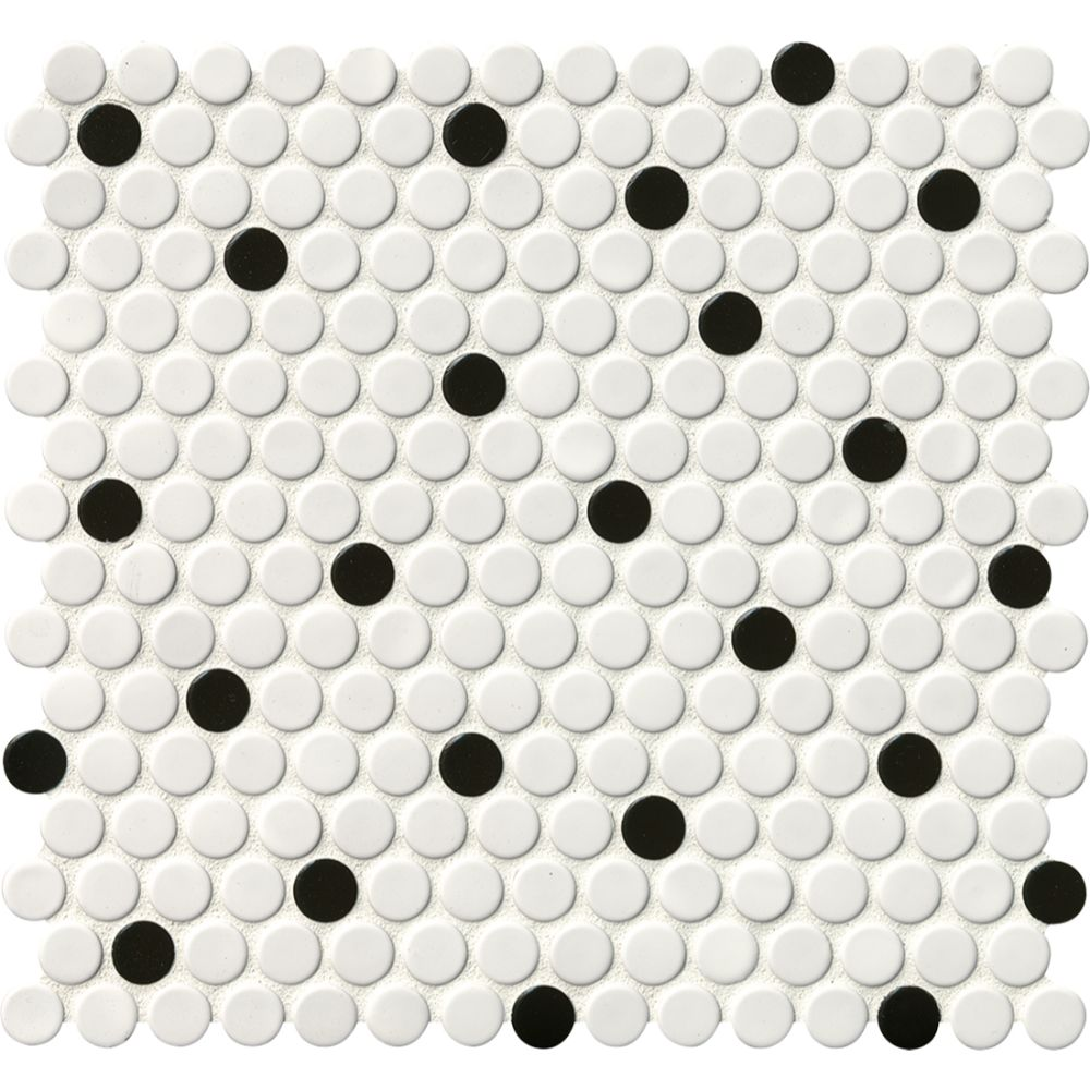 Domino White And Black Glossy Penny Round Mosaic