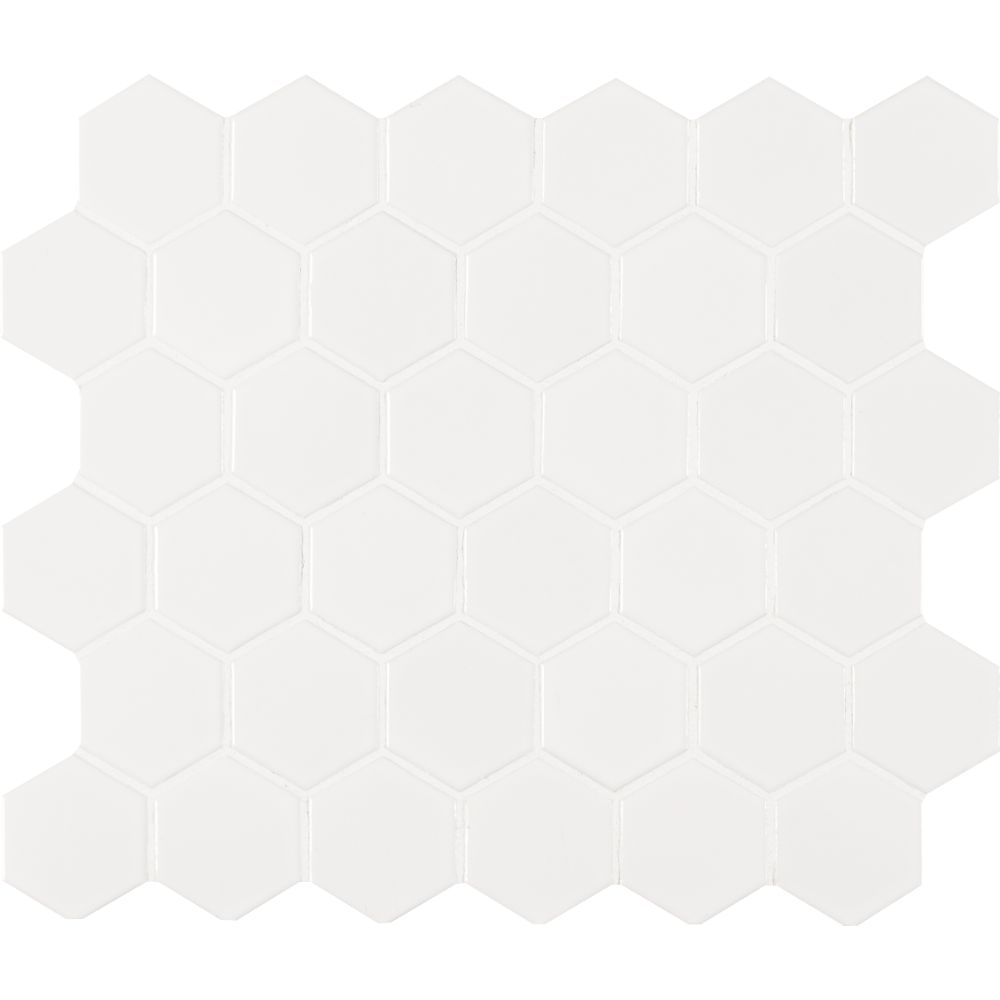 Domino White Glossy 2X2 Hexagon Matte Mosaic