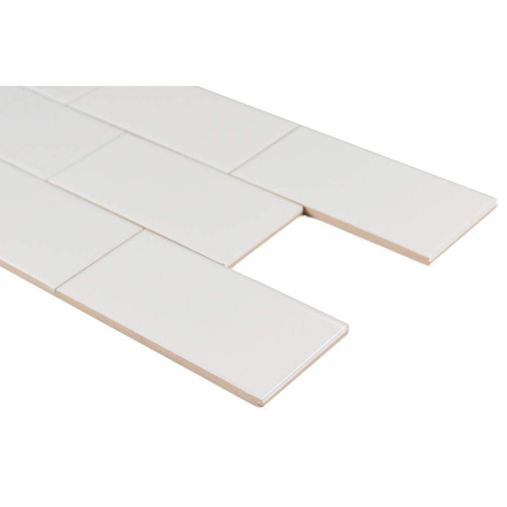 Domino White Glossy 3X6 Single BullNose