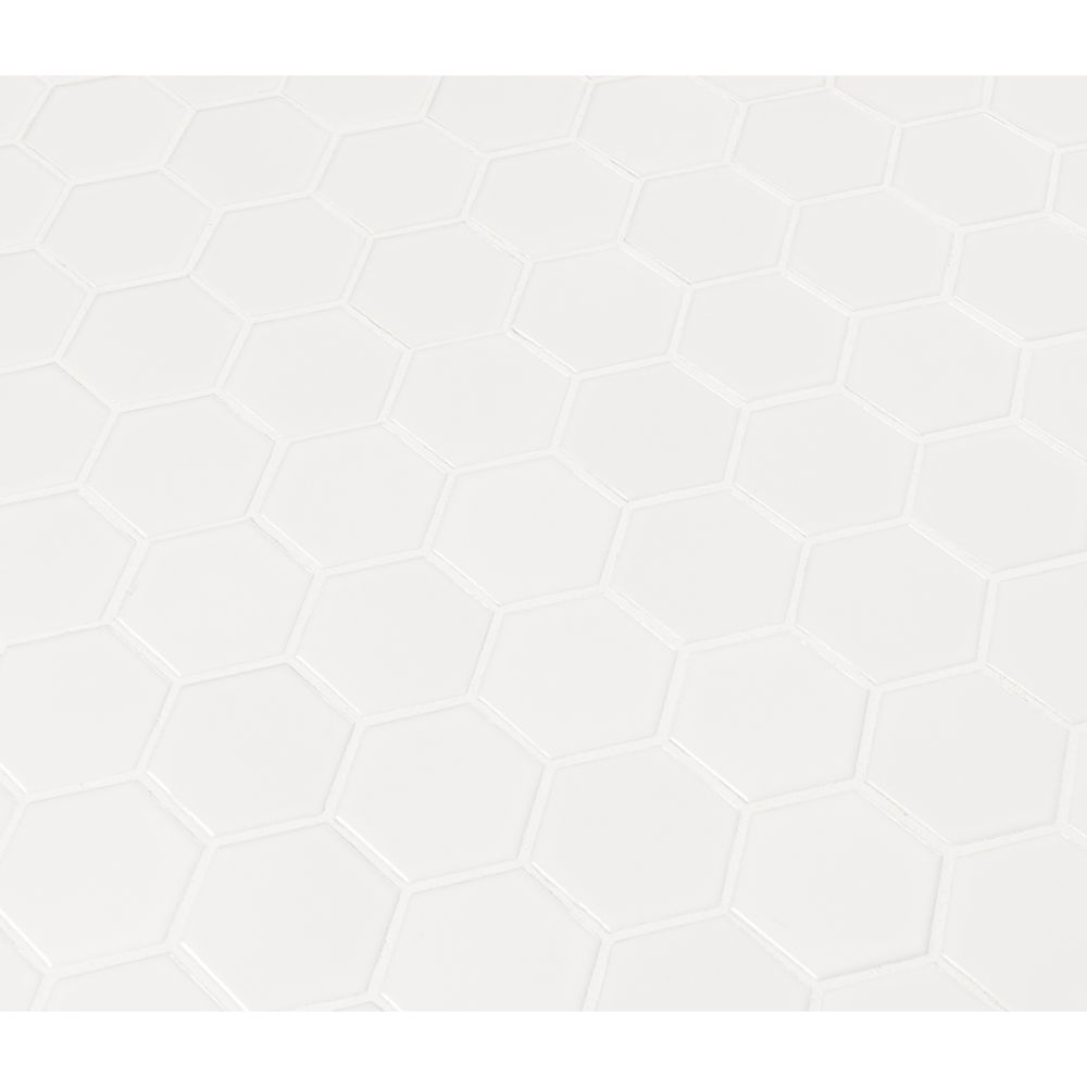 Domino White Matte 2X2 Hexagon Mosaic