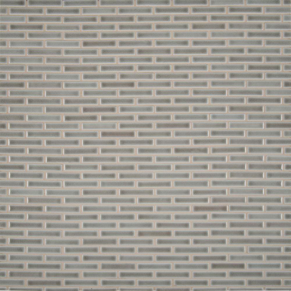 Dove Gray Brick Pattern Crackle Finish Mosaic