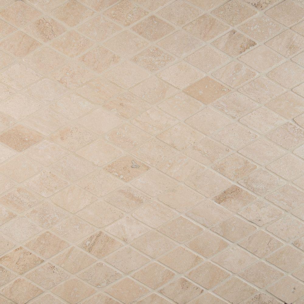 Durango Cream Rhomboids 2X2 Tumbled Travertine Mosaic