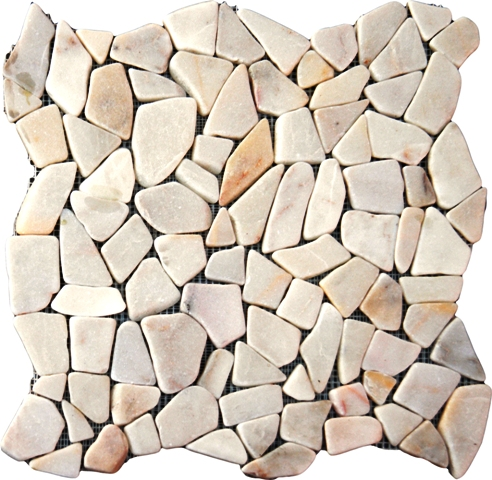Flat White Pebbles Floor Tiles