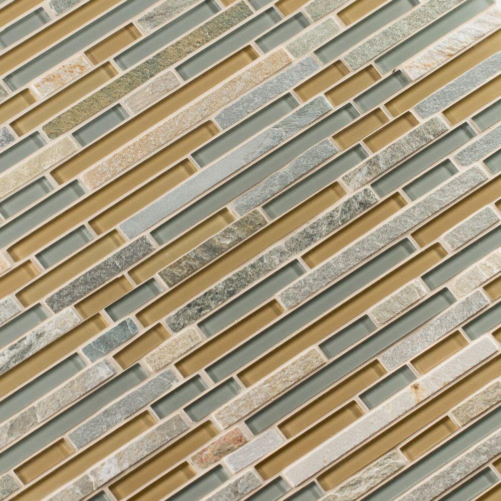 Golden Fields Interlocking Pattern 12x12 Glass Stone Mesh-Mounted Mosaic