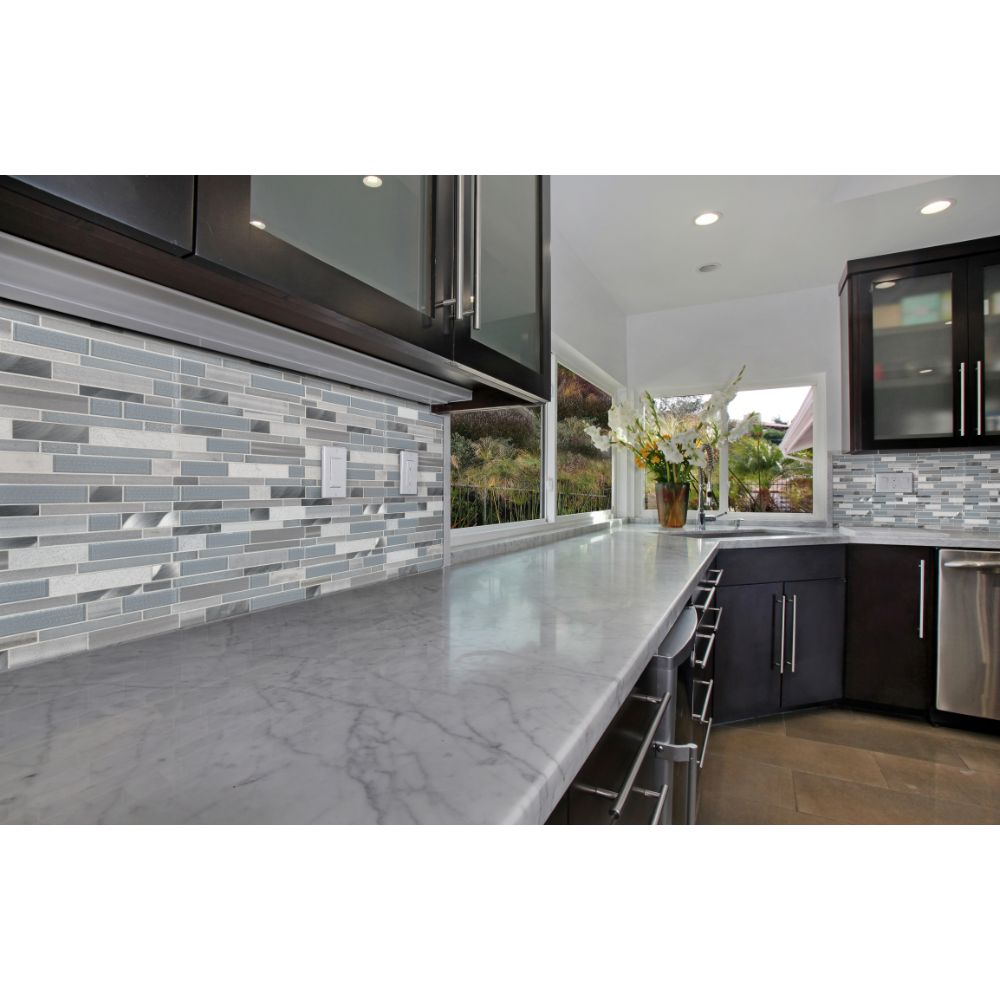Harlow Interlocking 8mm Gray Glass Wall Tile