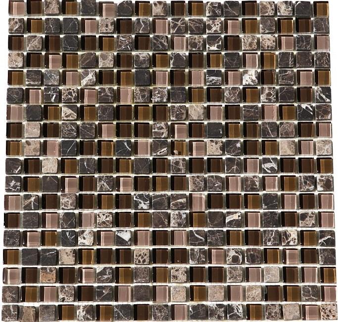 Glacier Brown 12x12 Glass Stone Blend Mosaic