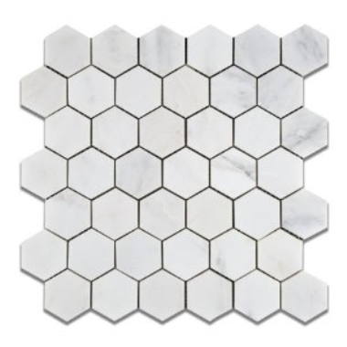 Oriental White 2x2 Hexagon polished Mosaic