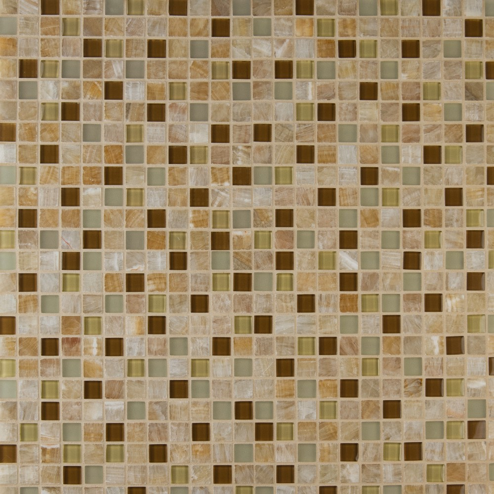 Honey Caramel Onyx 1x1 Glass Stone Blend Mosaic