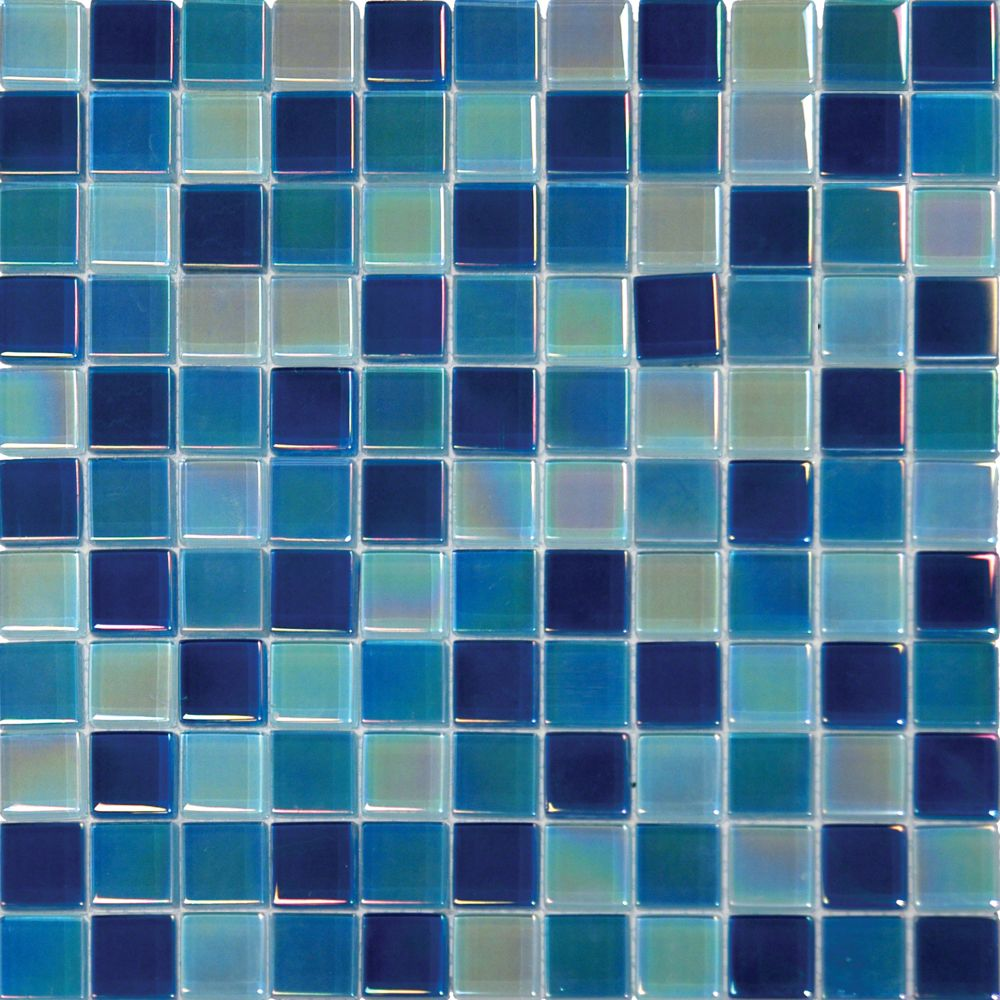 Iridescent Blue Blend 1x1 Crystallized Glass Tile