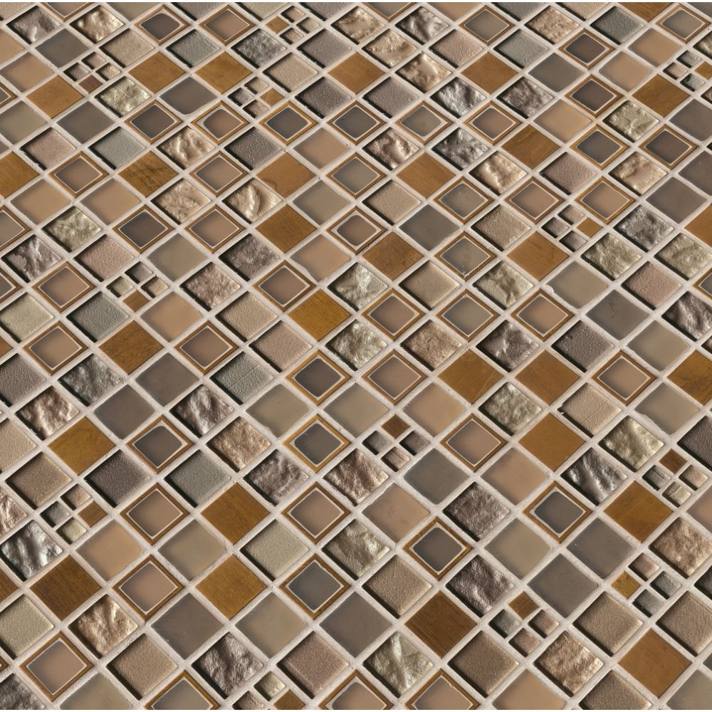 Manhattan 1x1 Blend Glass Stone Mosaic