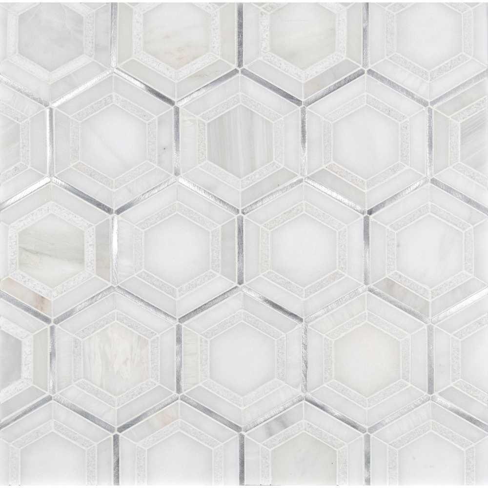 Medici Silver Geometric Pattern Hexagon Mosaic Tile