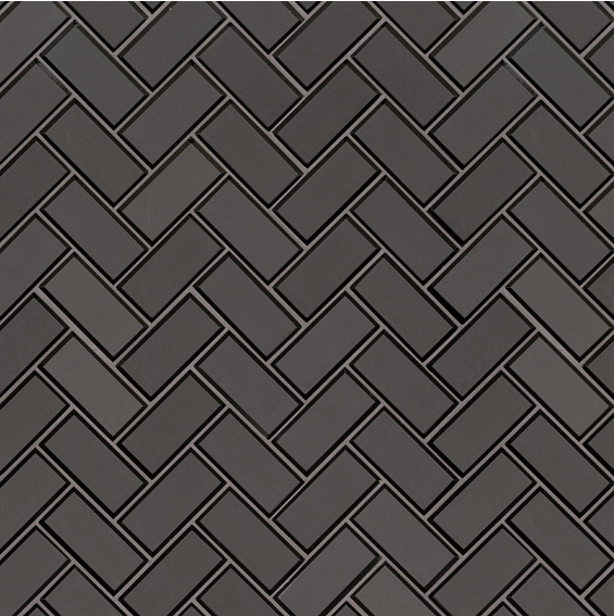 Metallic Gray 2x4x8 Herringbone Mosaic TIle