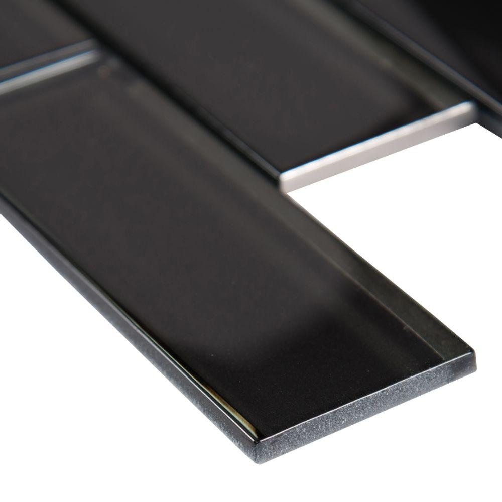 Metallic Gray 2x6x8 Glossy Bevel Glass Subway Tile