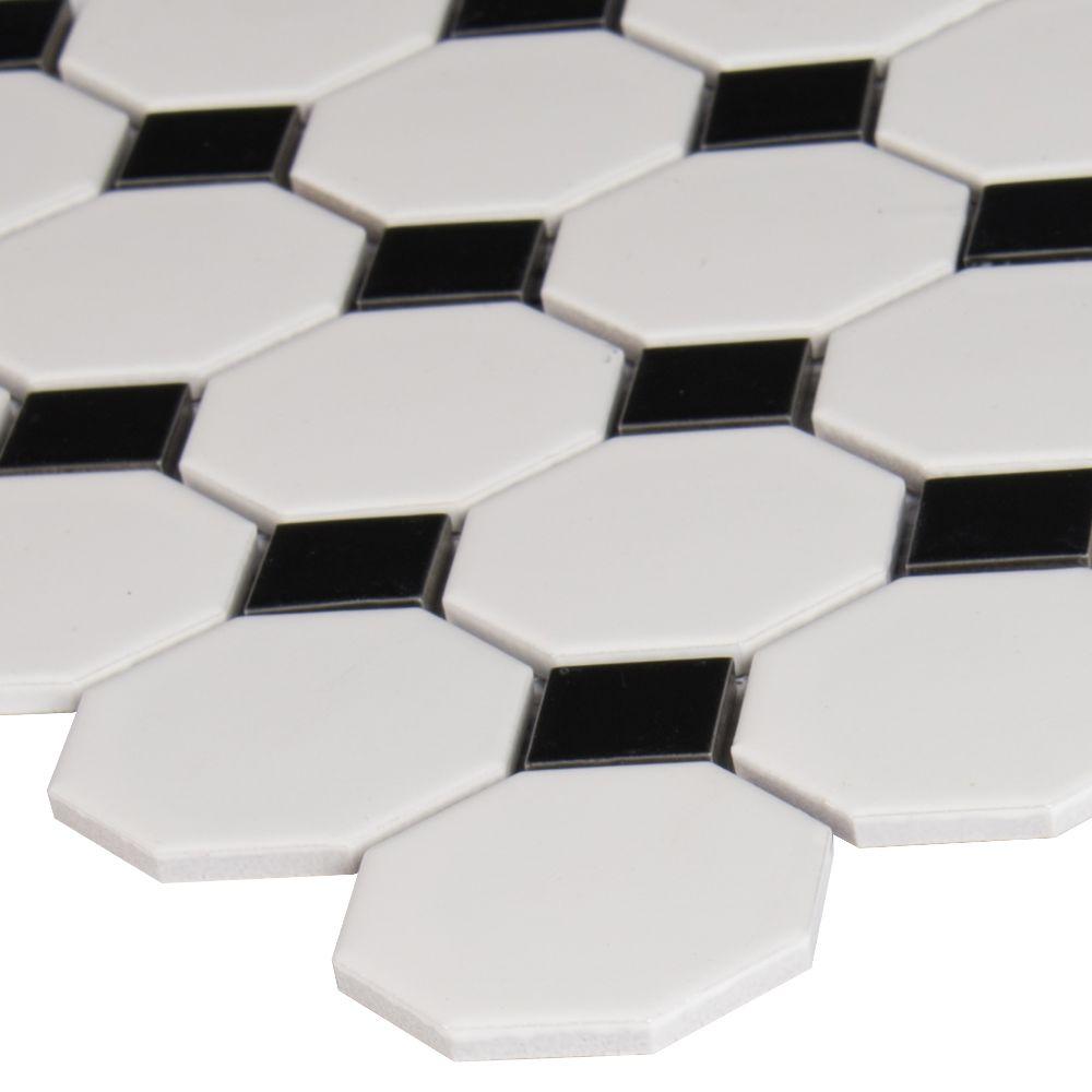 Metro Octagon Matte White and Black Porcelain Mosaic Tile