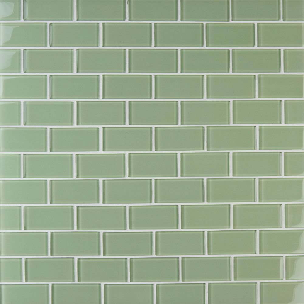 Mint Green 2x4 Subway Glass Mosaic