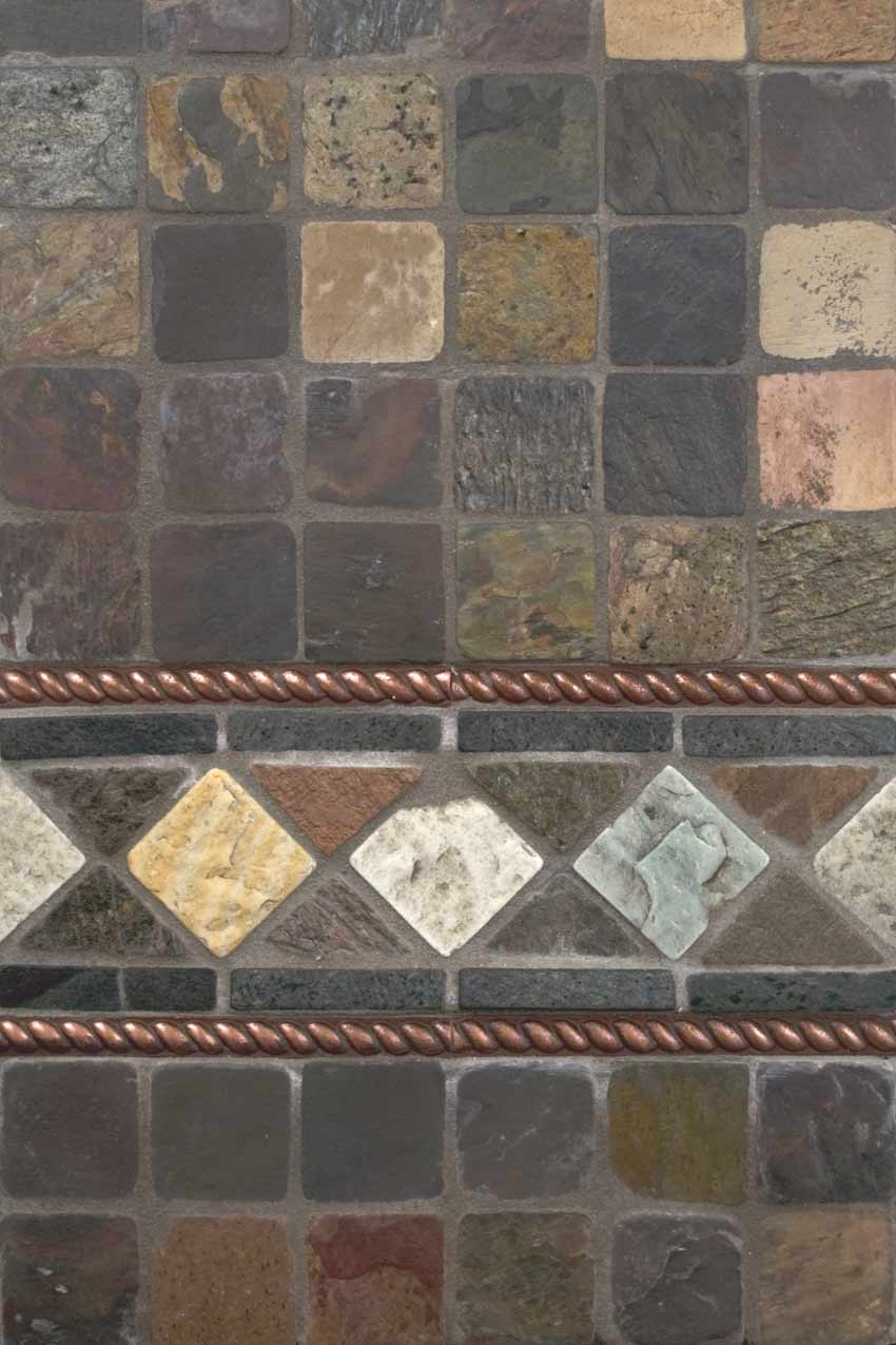 Mixed Color 12x12 Tumbled Slate Mesh Mounted Mosaic Tile