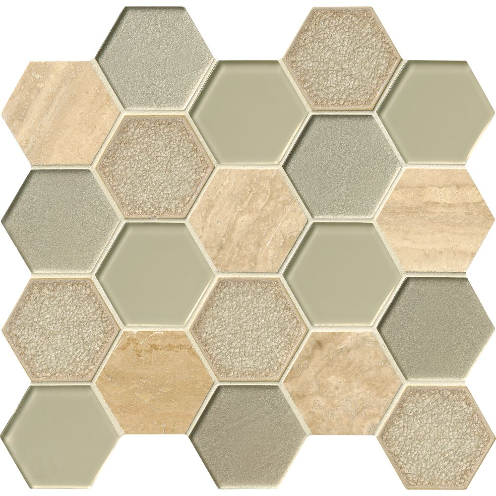 Monterra Blend 3x3 Hexagon 8mm Glass Wall Tile