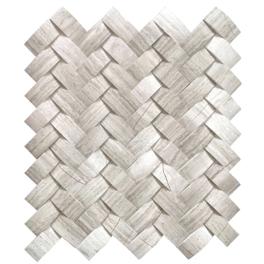 Mystic Cloud Arched Herringbone Honed Mosaic