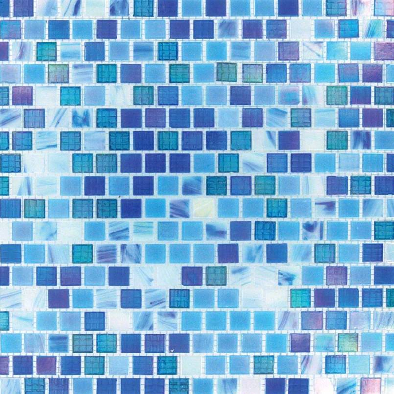 Opaque Blue Rainbow 12X12 Blend Mosaic
