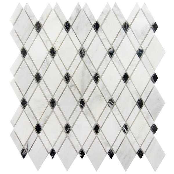 Oriental White With Black Dot Rhomboid Mosaic