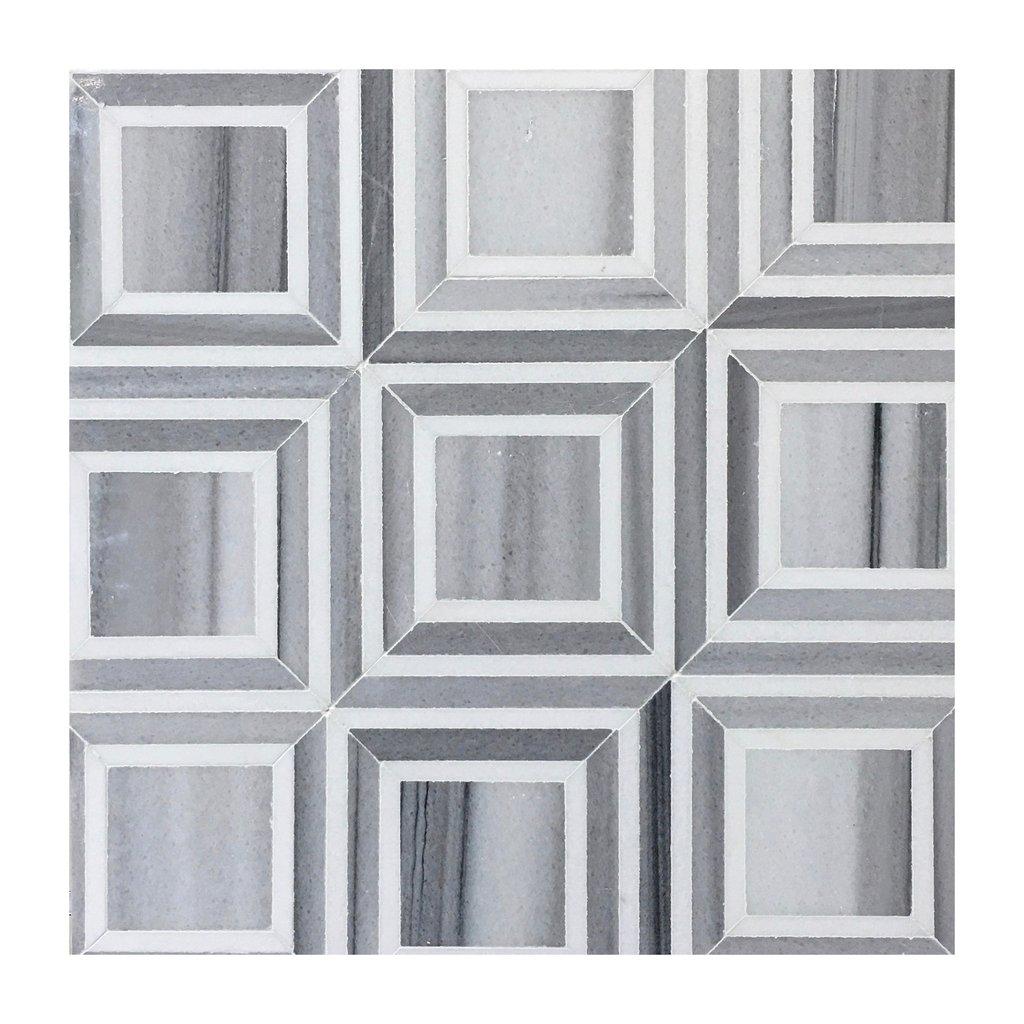 Piazza Zebra Thassos 12X12 Polished Waterjet Mosaic