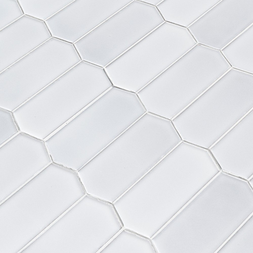 Retro Picket Bianco Glossy Pattern Porcelain Mosaic