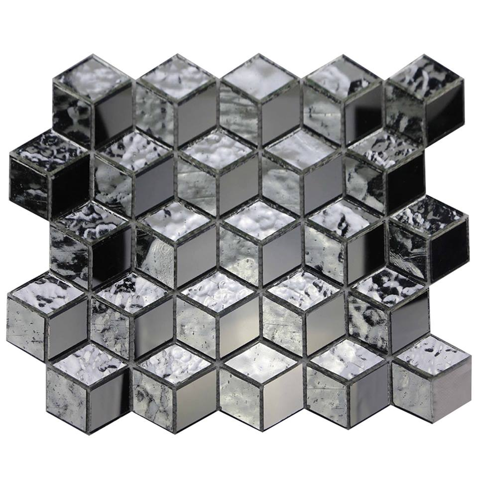 Silver Cube 3D 12x12 Interlocking Glass Mosaic
