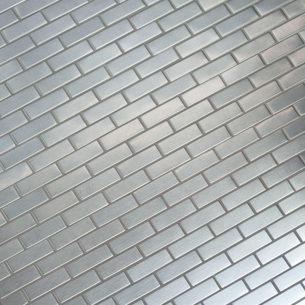 Silver Metal 0.75x2.5 Brick Pattern Metal Mosaic