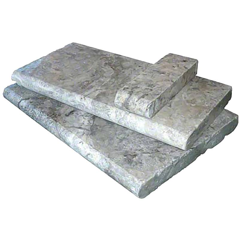 Silver Travertine 12X24 Honed Unfilled Brushed Double Bullnose Pool Coping