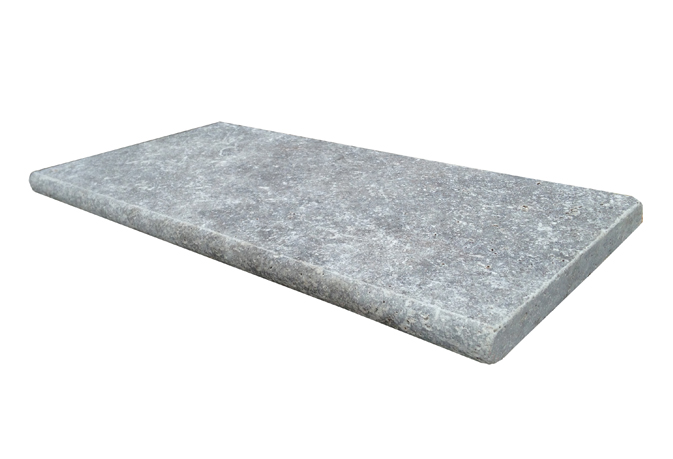 Silver Travertine 16X24 Honed Unfilled Tumbled One Long Side BullNose Pool Coping