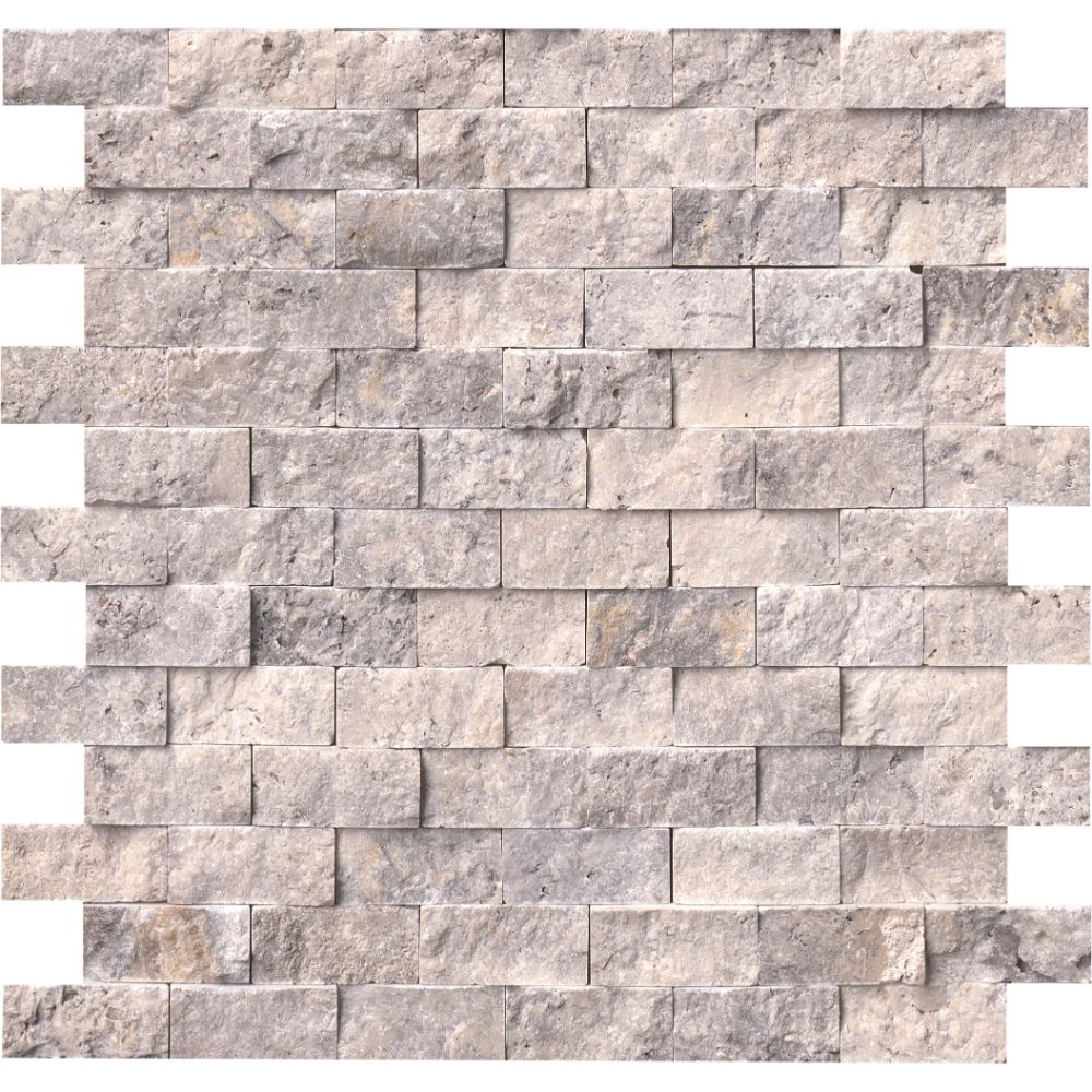 Silver Travertine 1x2 Split Face Travertine Mosaic