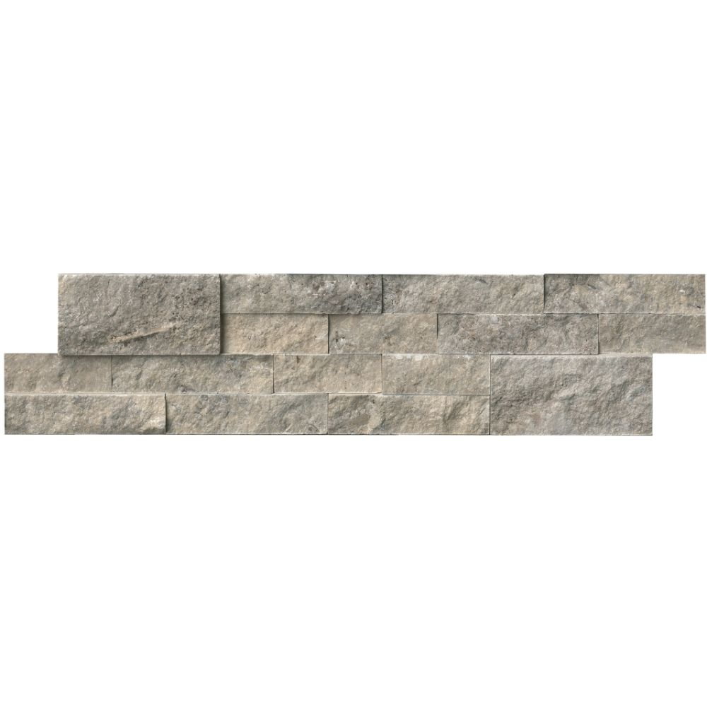 Silver Travertine 6X24 Split Face Ledger Panel