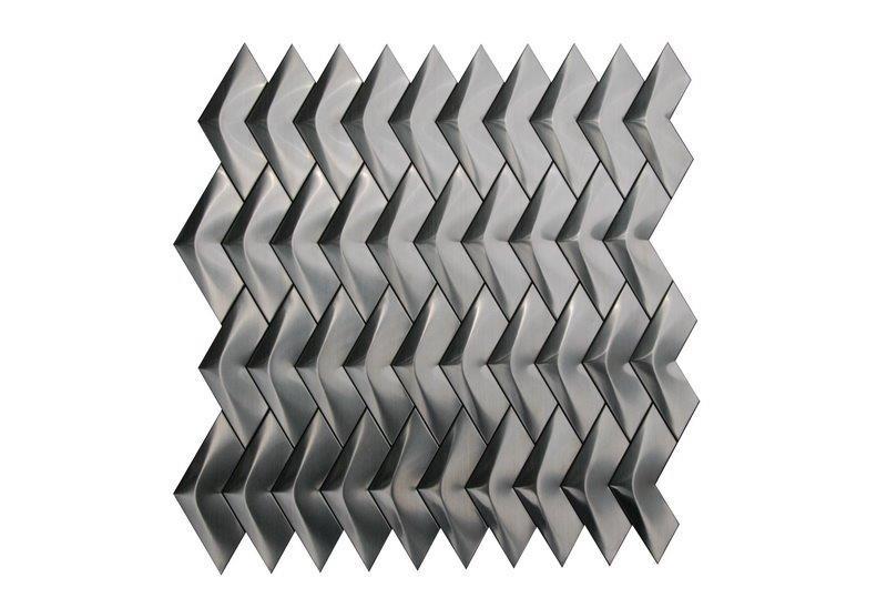 Stainless Steel 3D Herringbone Brushed Mosaic