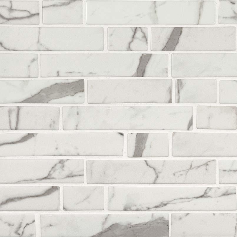 Statuario Celano Interlocking Pattern Recycled Glass Mosaic