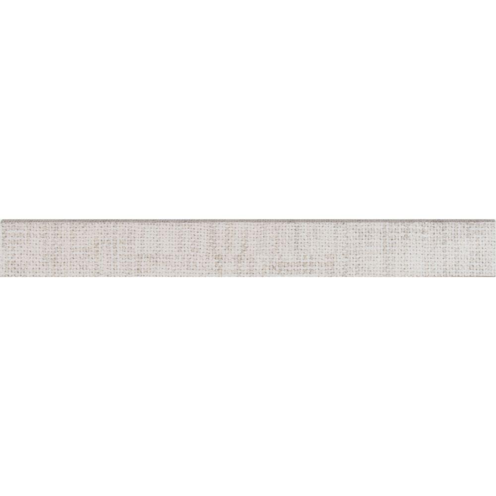 Tektile Crosshatch Ivory 3X24 Matte Bullnose
