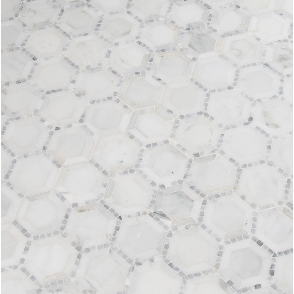 Telaio White 2X2 Hexagon Honed Mosaic