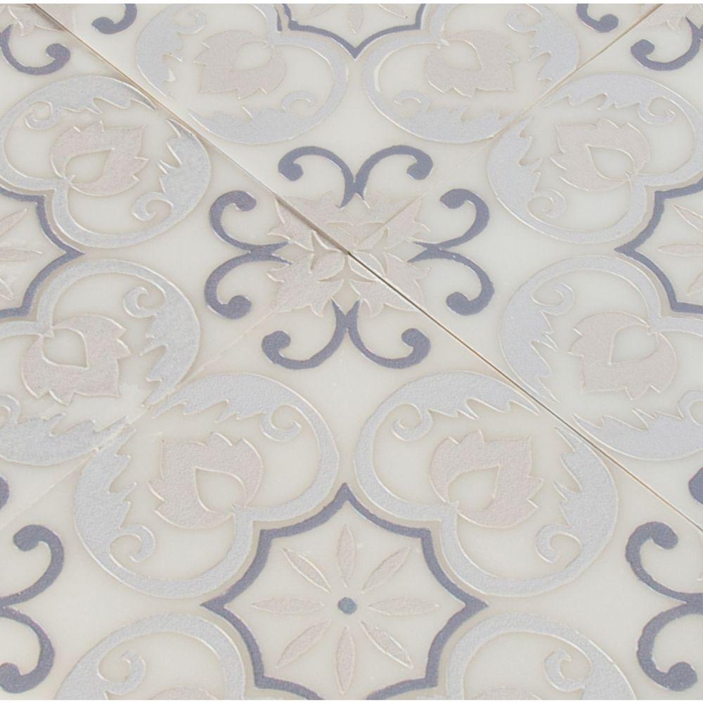 Tetris Florita Blanco 6x6 Polished Marble Wall Tile
