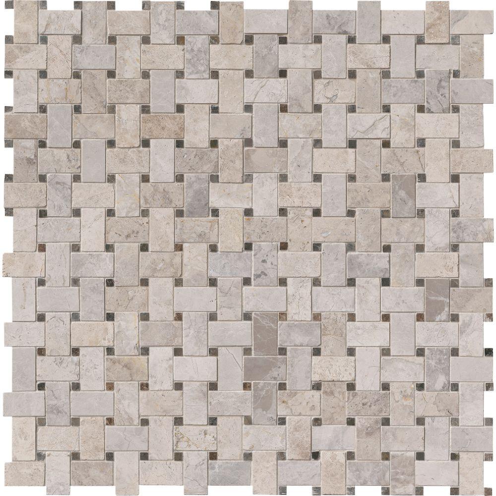Tundra Gray Basketweave Pattern Polished Mosaic